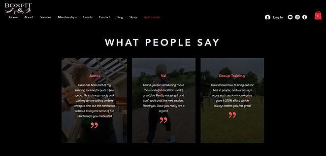 Boxfit testimonial page design