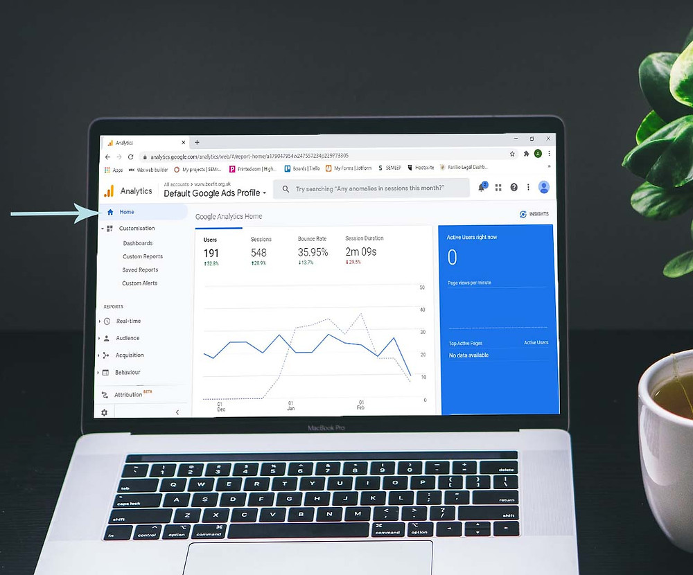If you haven't already, set yourself up a Google Analytics Account and link up your website to your new account. Once done you will be ready to go and you should see the home page as displayed here.