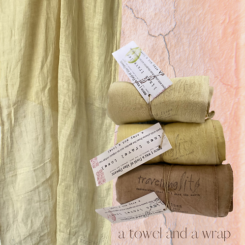 Linen Travellers - A wrap and a towel - dyed with weld.