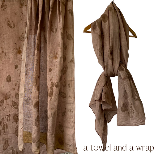 Generous Linen Travellers - wrap, sarong and a towel - dyed with an avoc