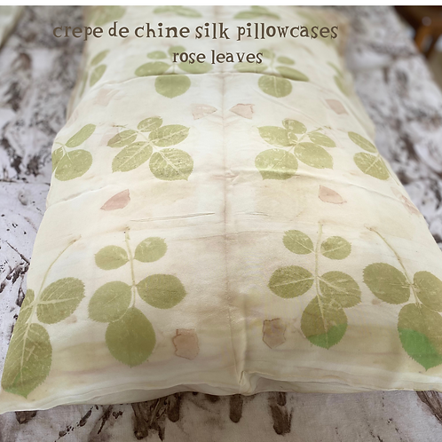 A pair of crepe de chine silk pillowcases - rose leaves