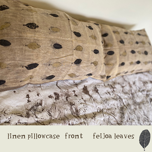 a pair of nature printed linen pillowcases - feijoa leaves.