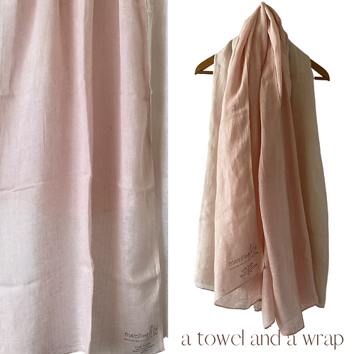 Generous Linen Travellers - wrap, sarong and a towel - dyed with an avocado pip