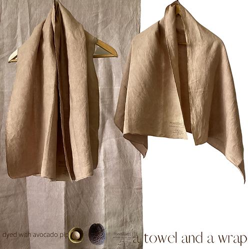 Linen Travel Towel - a wrap and a towel - avocado