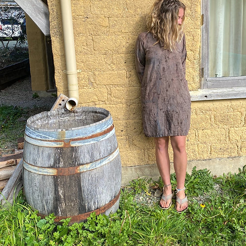 Linen 'feel at ease' Dress - dark walnut, iron and pomegranate skin