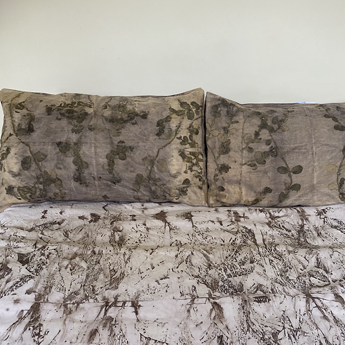 a pair of nature printed linen pillowcases - honeysuckle