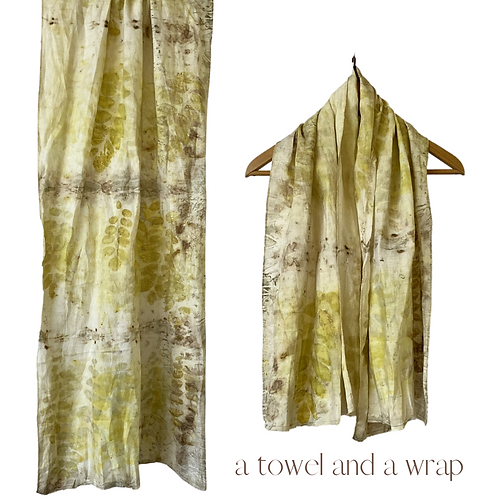 Linen Travel Towel - a wrap and a towel - food forest floor