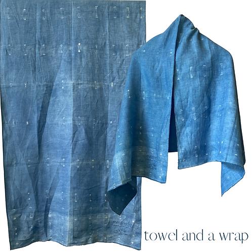 Linen Travel Towel - a wrap and a towel - indigo