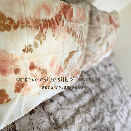 A Pair of crepe de chine silk pillowcases - eucalyptus leaves