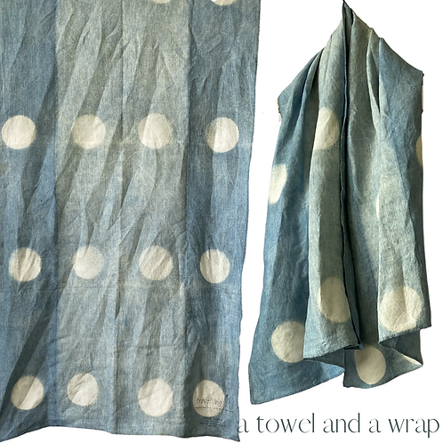 Linen Travel Towel - a wrap and a towel - indigo with polka dots