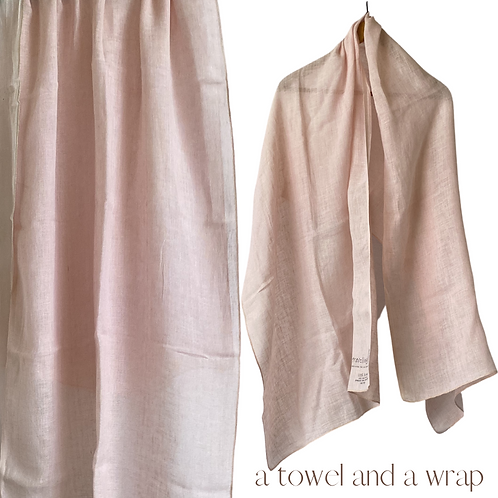 Linen Travellers - A wrap and a towel - dyed avocado pips