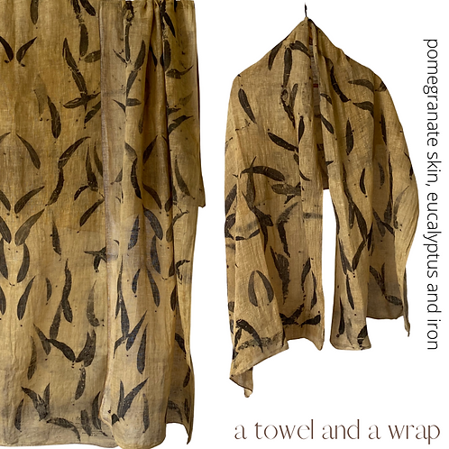 Linen Travellers - A wrap and a towel - dyed with  eucalyptus leaves