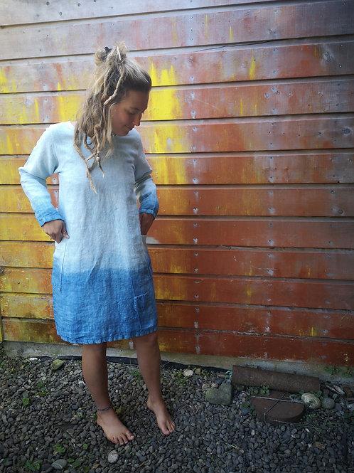 Linen 'feel at ease' dress - shades of indigo