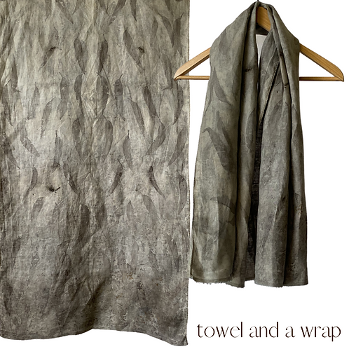 Linen Travel Towel - a wrap and a towel - pomegranate skin and eucalyptus leaves