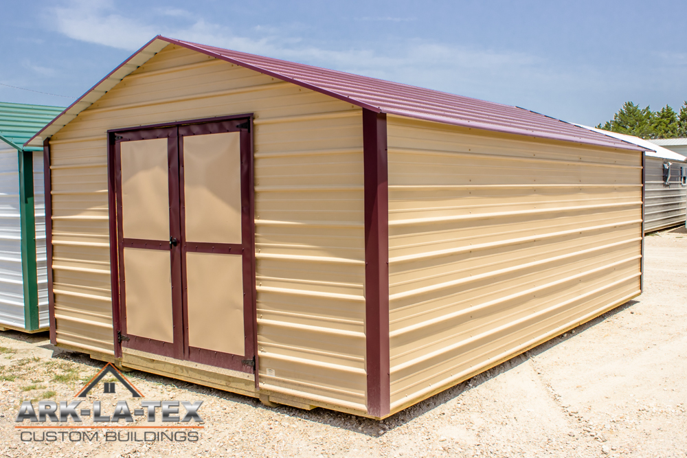 Cheapo Metal Shed -Tan - Side