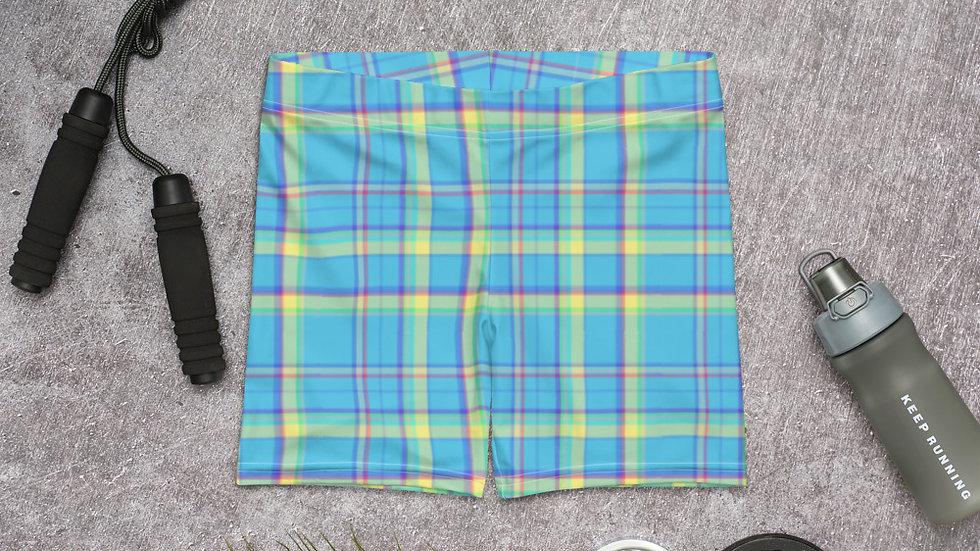 Blue Plaid Spandex Slider Shorts
