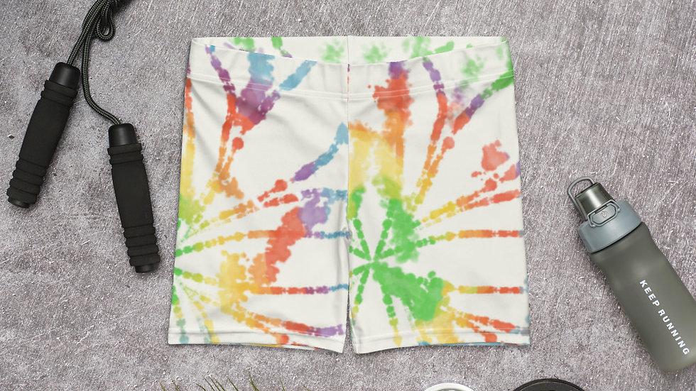 Rainbow Tie Dye Spandex Shorts