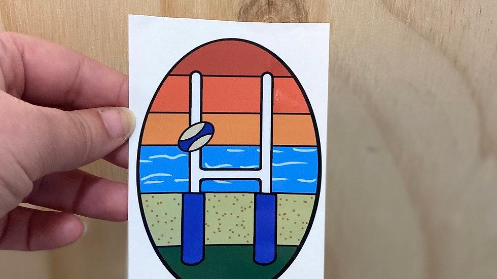 Rugby Travel Sticker - Beach Scene