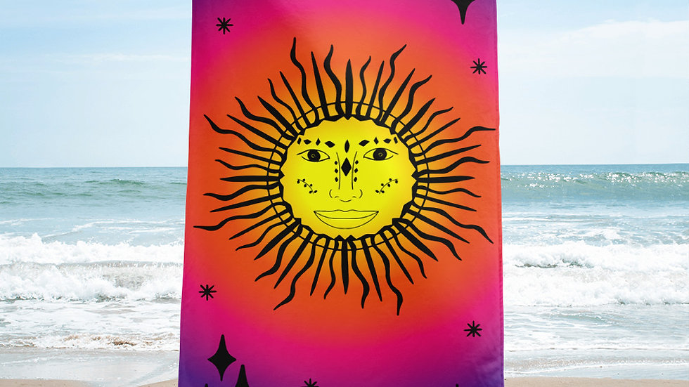 Sunset Stars and Sun Beach Towel