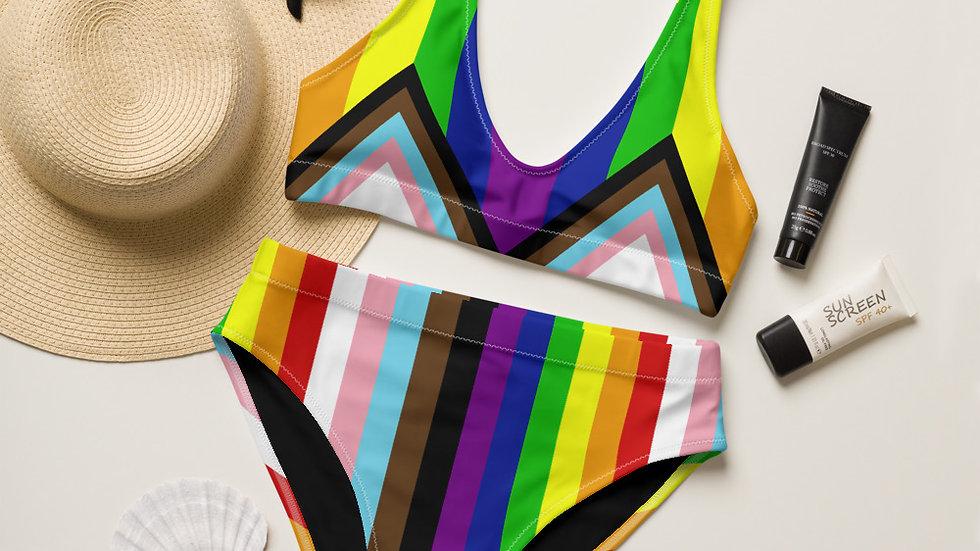Progress Pride Flag Recycled high-waisted bikini
