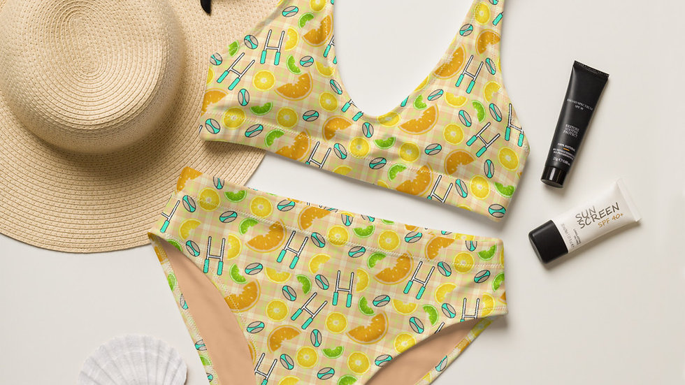 Citrus Fruit Rugby Plaid Recycled high-waisted bikini