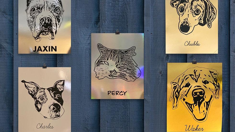 Custom Pet Portrait Solid Foil Background