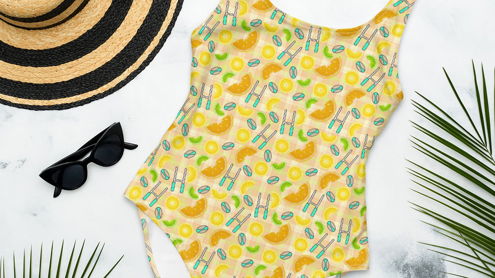 Citrus Fruit and Rugby One-Piece Swimsuit