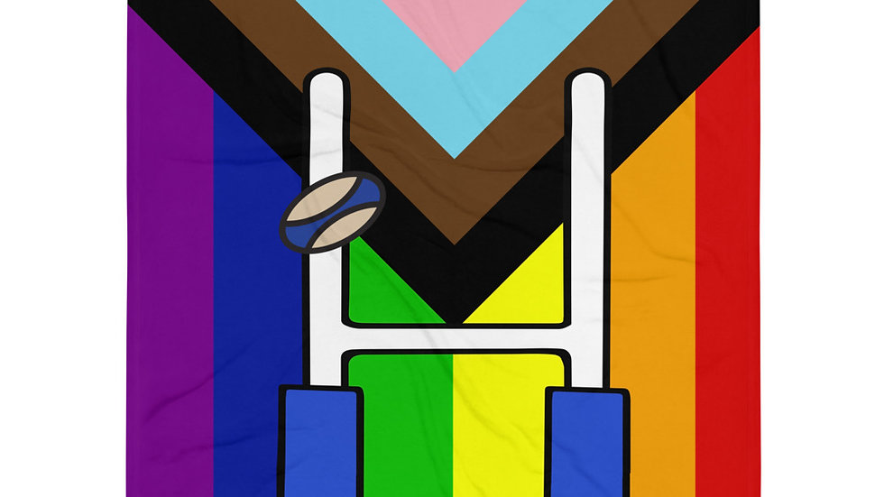 Rugby Progress Pride Throw Blanket