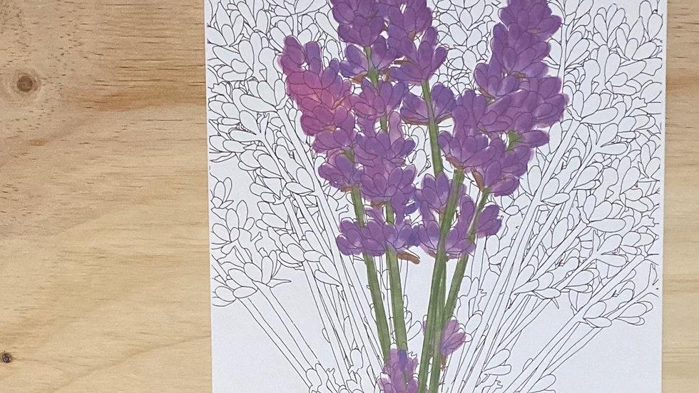 Lavender Watercolor Gauche Style Foil Art