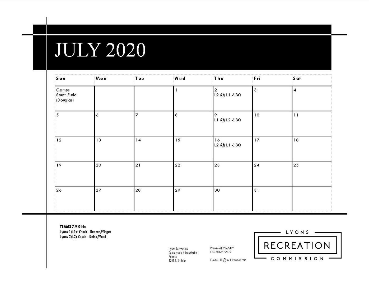 7-9 Girls '20 (July)