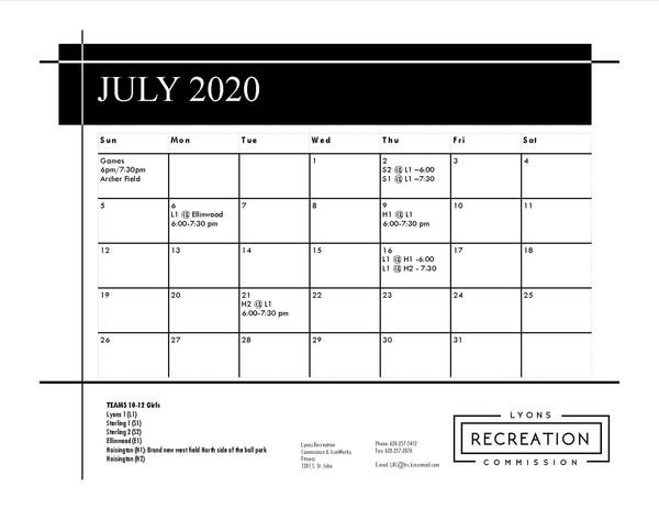 Schedule 10-12 Girls '20 (July)