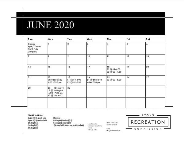 Schedule 10-12 Boys '20 (June)