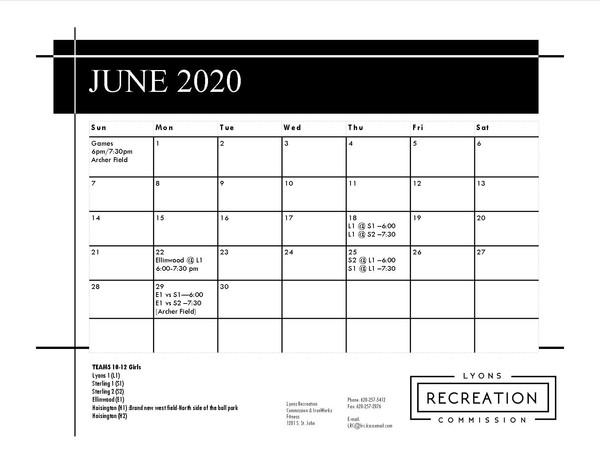Schedule 10-12 Girls '20 (June)