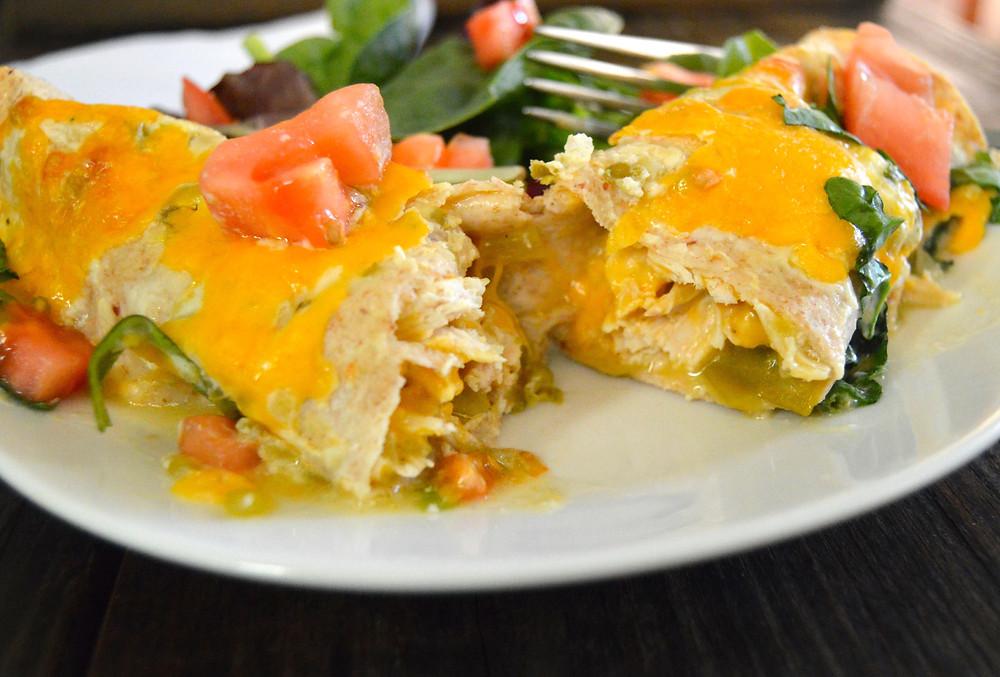 Salsa Verde Chicken Enchiladas Plated