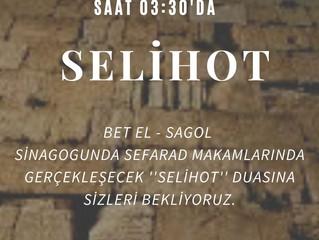 İYT Bet El-Sagol sinagogunda ''SELİHOT''