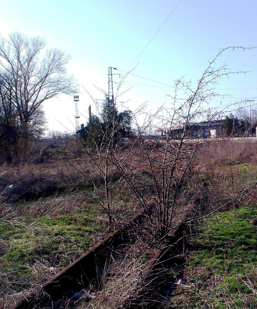 Останки от линията край гара Пазарджик