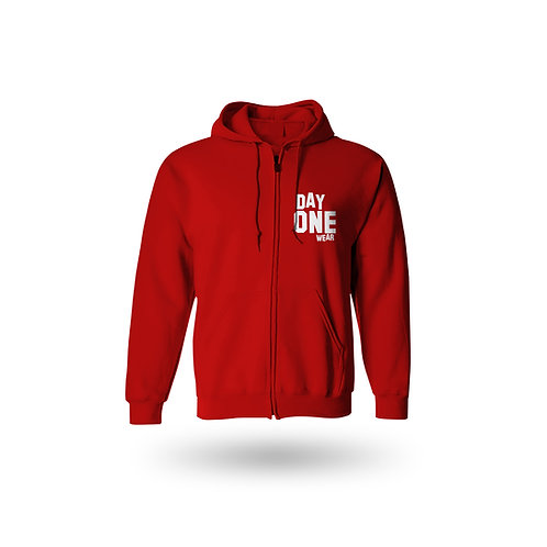 Red Day One Wear Zipper Hoodie