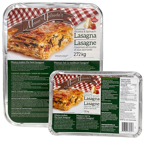 product packaging of large and small gourmet ricotta and spinach lasagna with green label