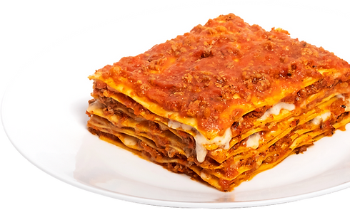 gourmet bolognese lasagna on white plate