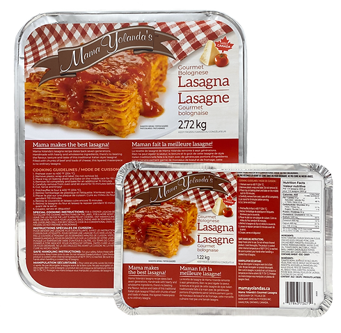 product packaging of gourmet bolognese lasagna with red label