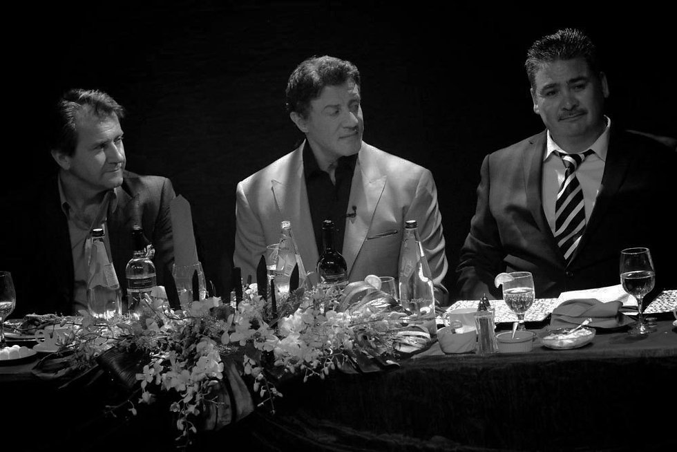 sylvester stallone and two friends dining together at carmen's banquet hall in 2012