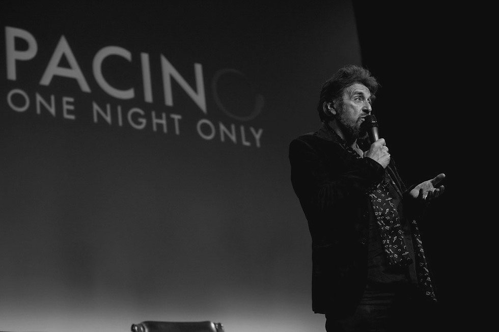 al pacino speaking on stage at carmen's event in 2010