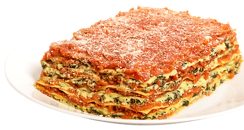 gourmet ricotta and spinach lasagna on white plate