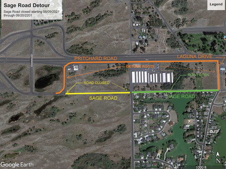 Sage Rd in Mae Valley to close for improvements. Detours available