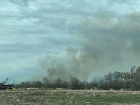 Brush Fire burns on island  close to 17 highway north of downtown Moses Lake