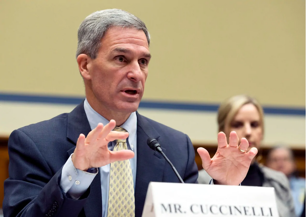 Ken Cuccinelli, acting director for the U.S. Citizenship and Immigration Services, U.S. Department of Homeland Security, testifies on Capitol Hill in Washington in 2019. 'Some people may find it ironic, but the largest excluded group are Canadians. It is Canadians who had travelled to China in the previous two weeks,' Cuccinelli told U.S. lawmakers on Thursday. (Jose Luis Magana/The Associated Press)