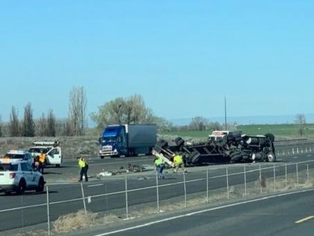 Semi crash blocking left westbound lane of the 90 freeway east of Moses Lake