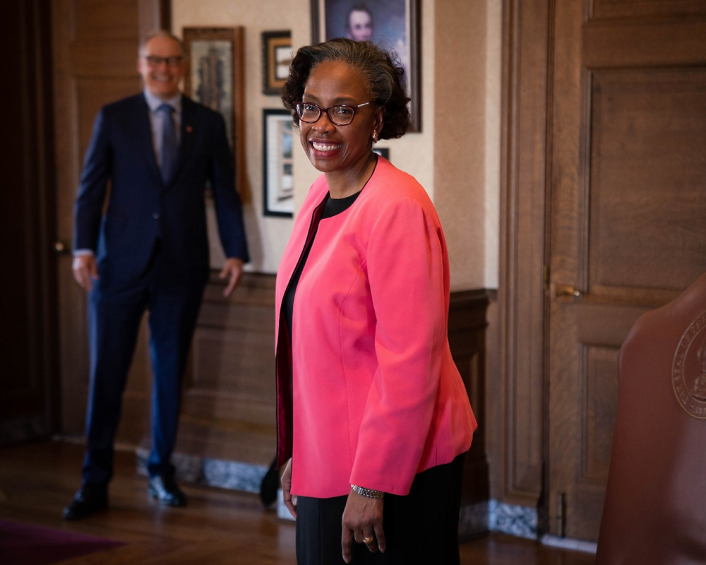 Pierce County Superior Court Judge and state Supreme Court justice appointee G. Helen Whitener photographed in Gov. Jay Inslee's office Monday. (Office of the Governor Photo)