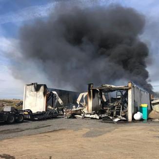 Fire destroys potato storage shed near Wheeler