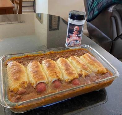 Crescent Roll Chili Dog Bake
